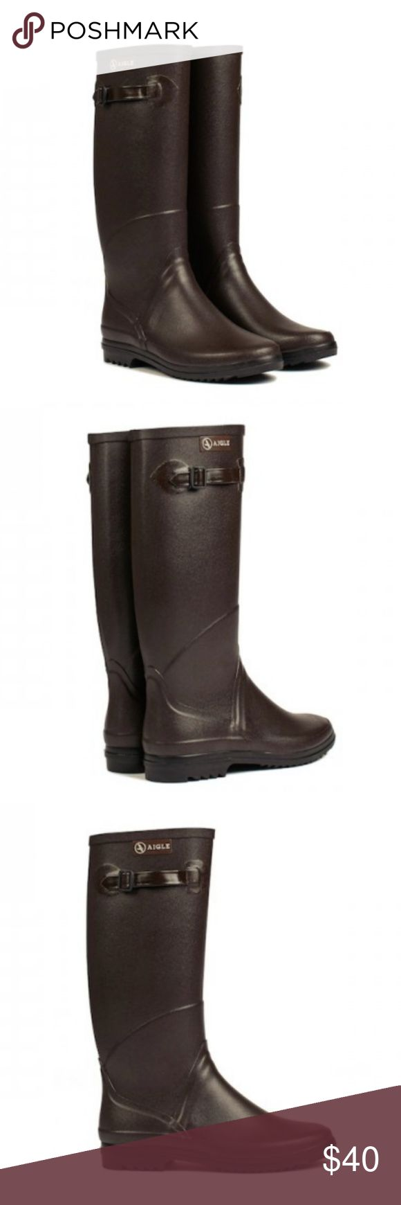 """🇫🇷Aigle CHANTEBELLE Hunting Rubber Boots GUC! """"The authentic hunting/rain boot for women. Diverted from their initial use, today they are worn both in the city and for a hunting trip. Elegant but also durable for years, they have nothing left to prove.This rubber boot is handmade in France by our master rubber craftsmen. Style: classical, for city wear as well as for a hunting trip. Handmade in France by our master rubber craftsmen."""" The side has some scuff marks, which is not noticeable…"""