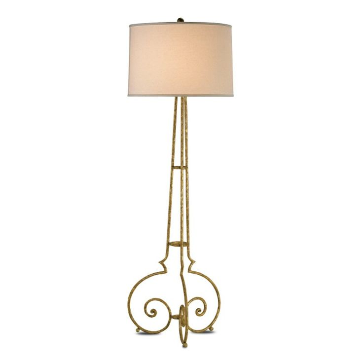 "<img src=""{{media url=""images/FREE-SHIPPING-DESCRIPTION-currey.png""}}"" alt="""" /><BR>   Currey and Company Taylor Floor Lamp reflects superb workmanship and attention to detail. This richly detailed floor lamp is made from wrought iron with a gold leaf finish. The hand-finishing process that is used on this lamp lends an air of depth and richness that cannot be achieved by less time-consuming finishing methods. Topped with Off White Shantung measuring 21x22x15. Features three way switch turn…"