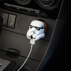 Plug this Star Wars Stormtrooper USB Car Charger into your 12V vehicle power adapter (cigarette lighter) to tap into the power of the Dark Side. Specifically, you'll get 2.1 Amps flowing into your phone, tablet, or anything that charges via USB.