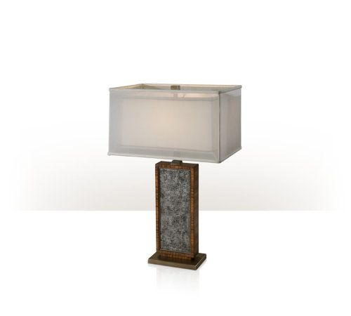 A Hyedua and pewter Argento table lamp, the rectangular pewter Argento panelled body above a brass plinth base and surmounted by a hand sewn box shade.
