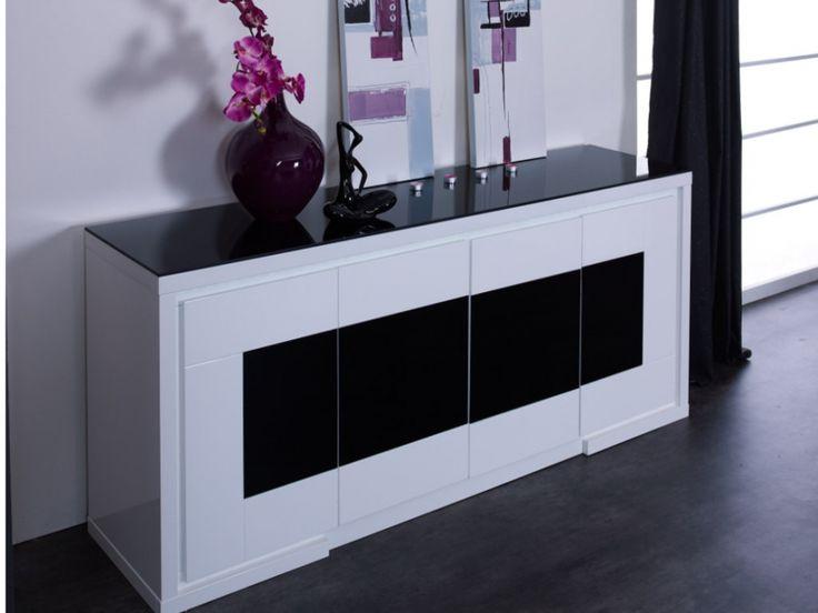 Buffet KIBO - MDF laqué blanc & noir & verre trempé - 4 portes - LEDs