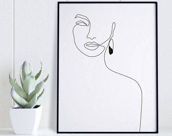 Elegante einer Linie Gesicht Kunst, Frau Gesicht, Mode Skizze druckbare, schwarz und weiß weibliche Zeichnung Poster, minimalistischen Schönheit Ill…