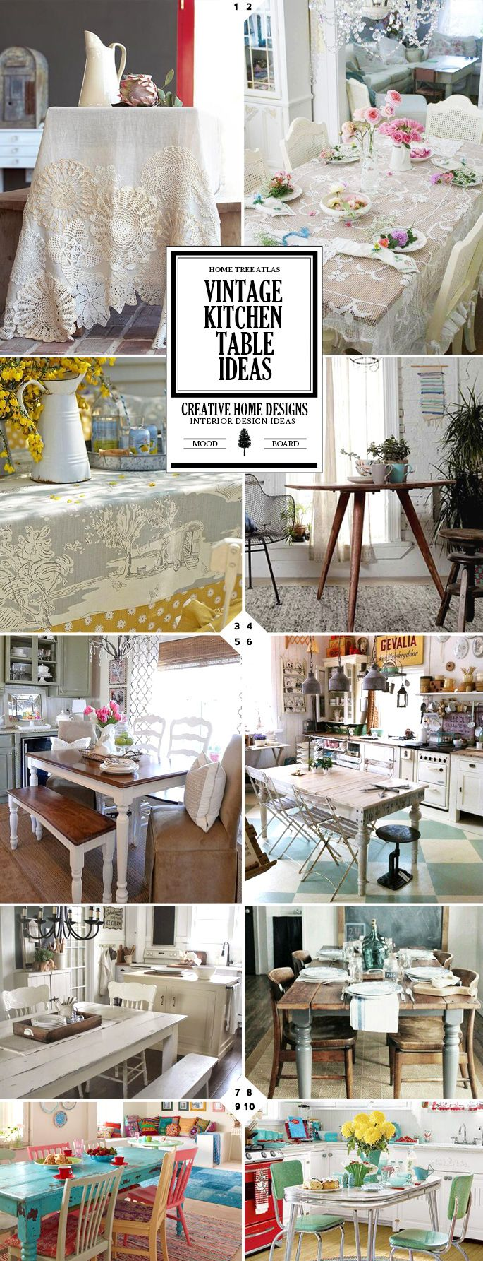 Ideas for vintage kitchen table and chairs, and table decor ideas