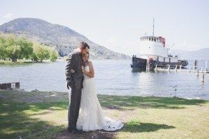 In the heritage park, with Canadian National Tug 6 behind - Wedding Photography by Lorena Astrid
