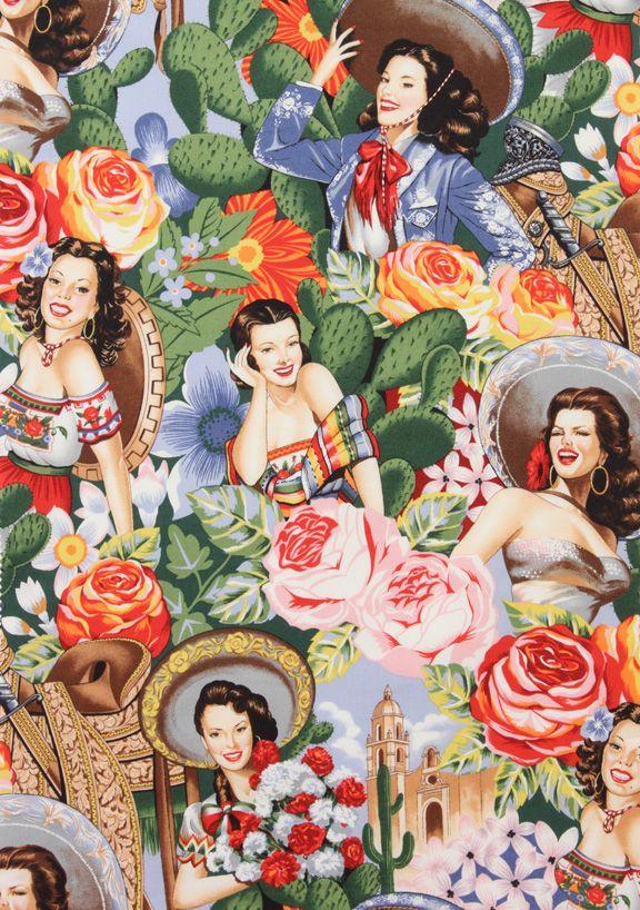 Las Senoritas, FAbric by Alexander Henry, mexican pin up