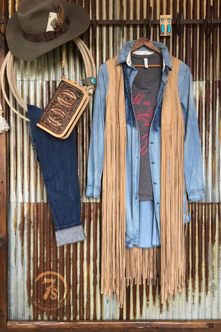 "- Long tan faux suede fringe vest - Soft and lightweight - Curved seam detail front and back - Great layering piece over anything and everything - Fringe hits mid calf on 5'6"" woman, but can be trimme"