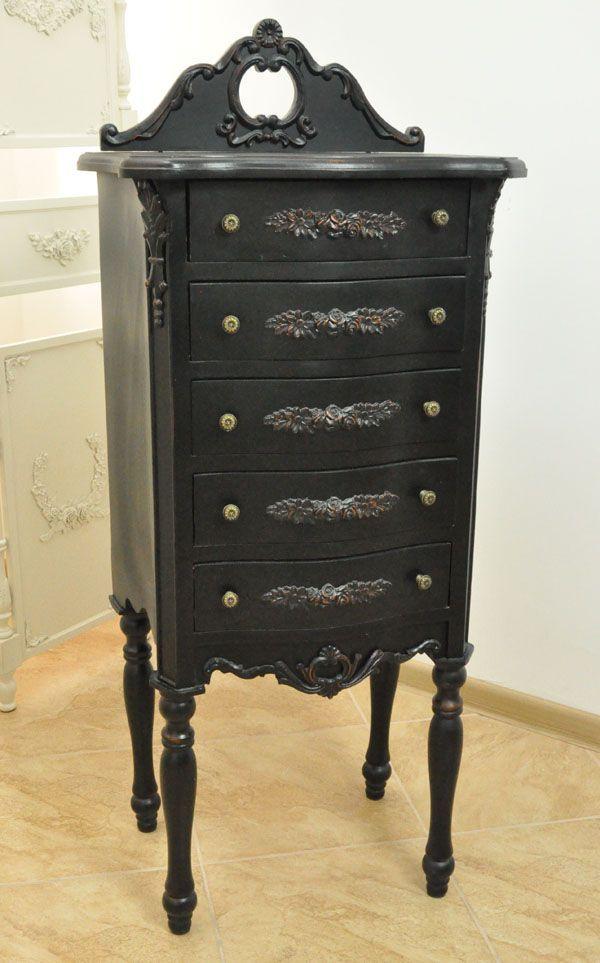 Czarna Komoda Pięć Szuflad Kolekcja Rokoko / Black Chest of Drawers Rococo Collection