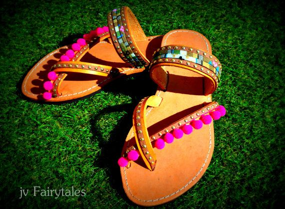 Handmade Boho Sandals Handmade leather sandals, decorated with multicolored ethnic straps, pom poms  Please Note ~All of our items are made to order