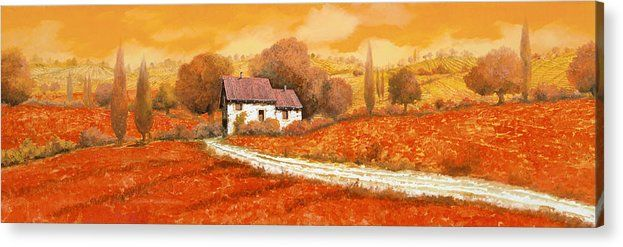 Tuscany Acrylic Print featuring the painting Rosso Papavero by Guido Borelli