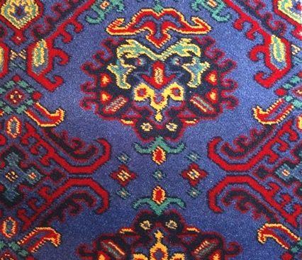 Moquette de laine tissée à dessin traditionnel de style Haussmannien - Second Empire - Harmonie bleue en 3.66cm de large