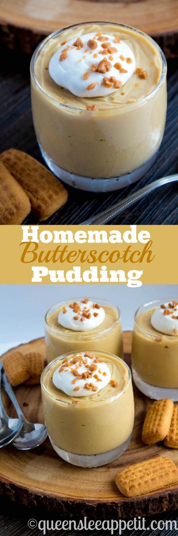 Rich and creamy Homemade Butterscotch Pudding made completely from scratch and takes only 10 minutes to make! A fantastic comfort dessert to enjoy every day!