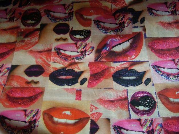 Stoff grafische Muster - Lucky Lips, Lippen Baumwollstoff Digitaldruck - ein Designerstück von rosima bei DaWanda