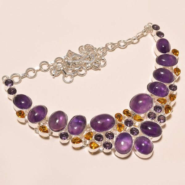 Statement Necklaces – Amethyst Necklace/Cabochon Necklace/Chokers – a unique product by IndianCraftPalace on DaWanda