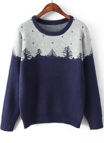 Navy Christmas Tree Print Color Block Sweater