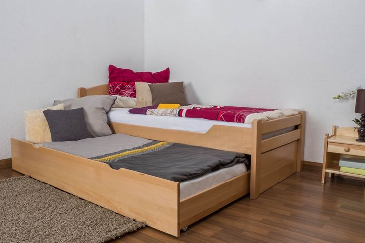 "Single bed ""Easy Sleep"" K1/h with trundle bed frame and 2 cover plates, solid beech wood, clearly varnished - 90 x 200 cm"