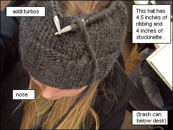 Good math theory here. Working out how to decrease stitches to shape the crown of a hat - very useful formula - thanks so much!! brangelinaprototype2.jpg