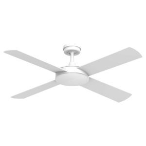 1320mm intercept ceiling fan in white, by Hunter Pacific  Pre-assembled motor and down rod for efficient installation  Matte white finish and includes a 100W 78mm linear halogen light