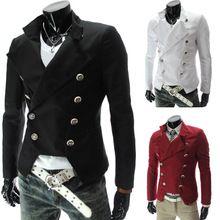 Dernières Steampunk Retro Slim Fit colombie hommes double boutonnage mode Blazer hommes veste mince 9306 noir / rouge / blanc CASUAL robe(China (Mainland))