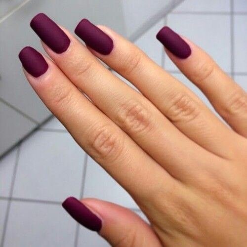 Burgendy, classy, long gel nails. But simple