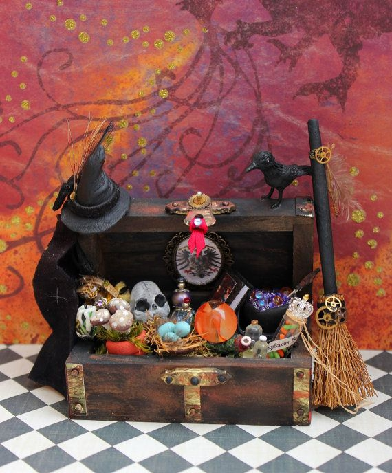 Dollhouse Miniature Witch Wizard Floor Chest Trunk Potion Bottle Witch Hat Broom Layaway Available