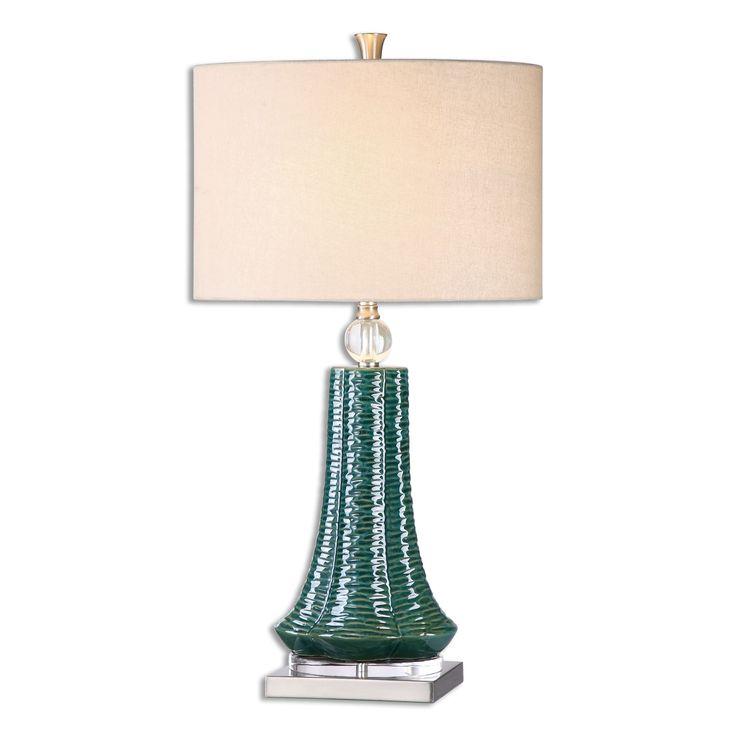 Uttermost Gosaldo 1-light Teal Table Lamp (Teal Table Lamp), Beige (Ceramic)