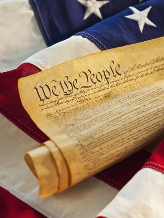 United States Constitution of top of American flag Photographic Print