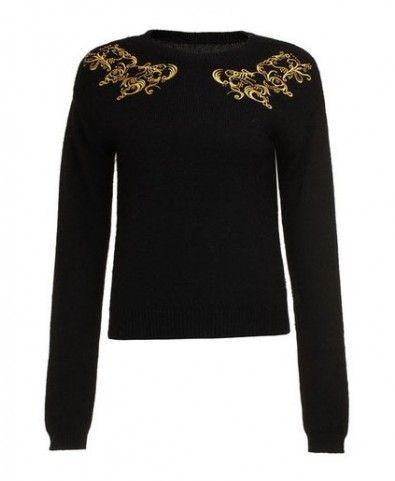 Embroidered Round Neckline Pullover - Clothing