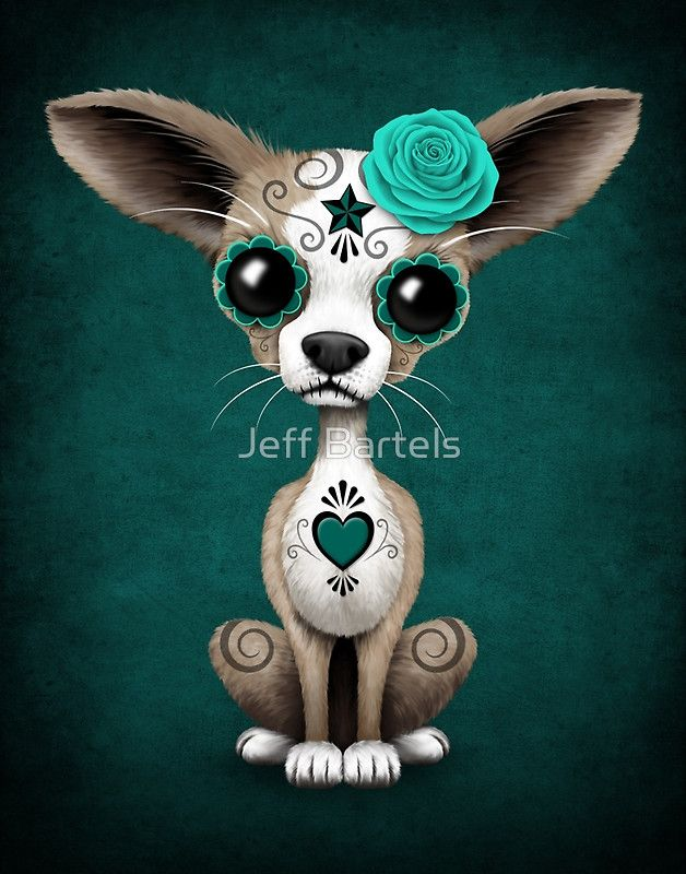 Blue Day of the Dead Sugar Skull Chihuahua Puppy