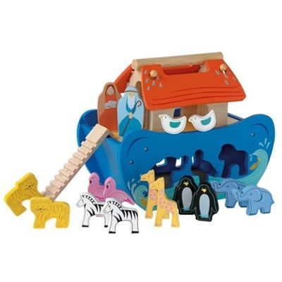 Le Toy Van Shape Sorter Ark  A beautifully crafted shape sorter ark from Le Toy Van. Brightly painted with 7 pairs of wooden wild animals plus Noah and his wife sort into the upper deck! The ark has a sliding door that allows access to the hull and it also has a very useful carry handle in the top for safe transport around the house.
