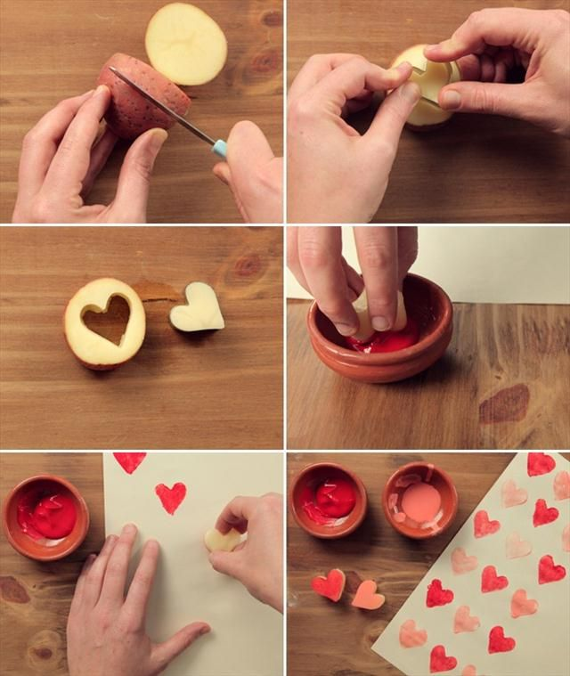 Valentines  Gift Wrapping Ideas | diy valentine gifts wrapping paper heart potatoe cookie cutter paint ...