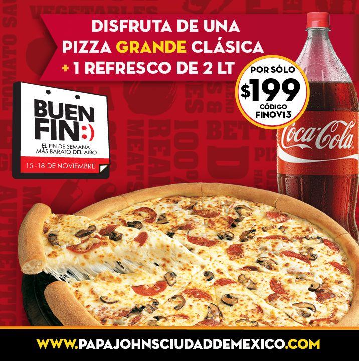 """Ya es hora de la comida y Papa John's esta listo para tomar tu orden. Disfruta a través de SinDelantal.Mx """"el Fin De Semana Más Delicioso del Año"""". Ordena en www.sindelantal.mx"""