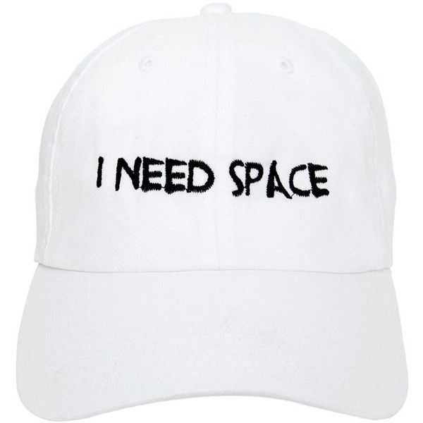 Nasaseasons Women I Need Space Embroidered Baseball Hat (£50) ❤ liked on Polyvore featuring accessories, hats, white, ball cap, white baseball cap, embroidered baseball hats, embroidery hats and white hat