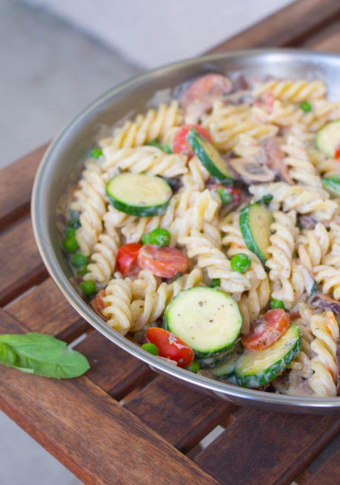Vegan Pasta Primavera with fresh veggies and a creamy white sauce!