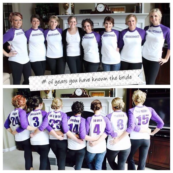 Number of years you've known the bride.This would be amazing to do for shirts at my bachelorette party!!!