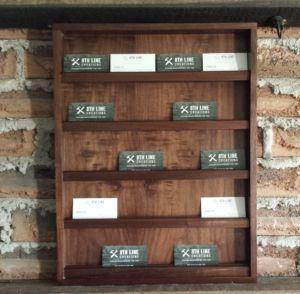 20 Card Walnut Wall Mounted Business Card Holder