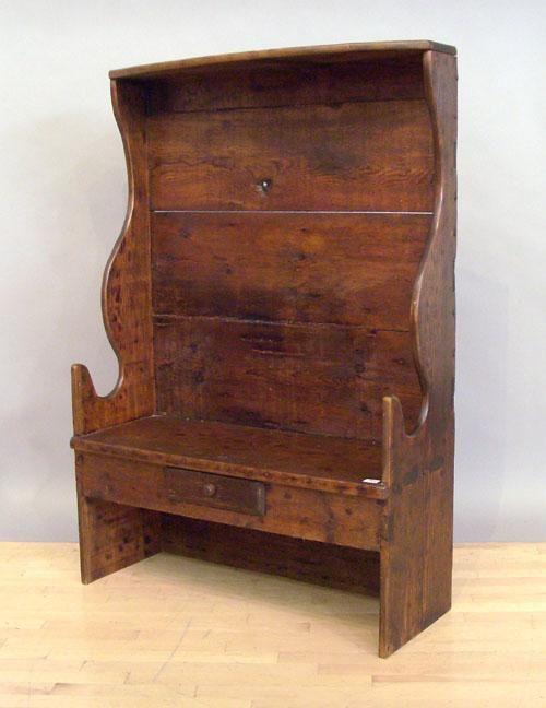 Pine settle bench, 60'' h., 41 1/4'' w.