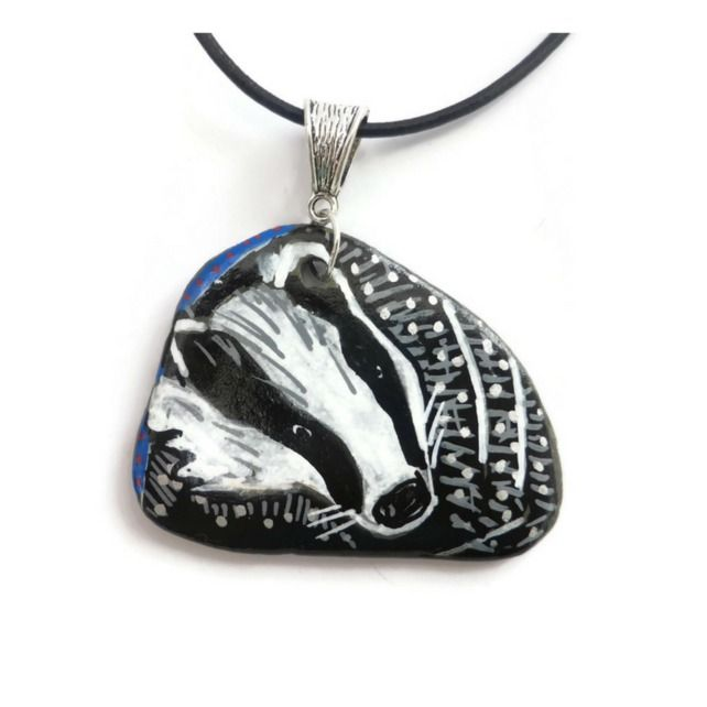 Hand Painted Badger Necklace on a Pebble £16.00