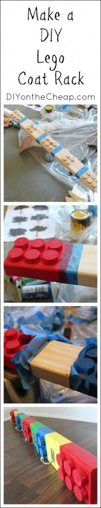 Make a DIY Lego Coat Rack! Tutorial via DIYontheCheap.com.