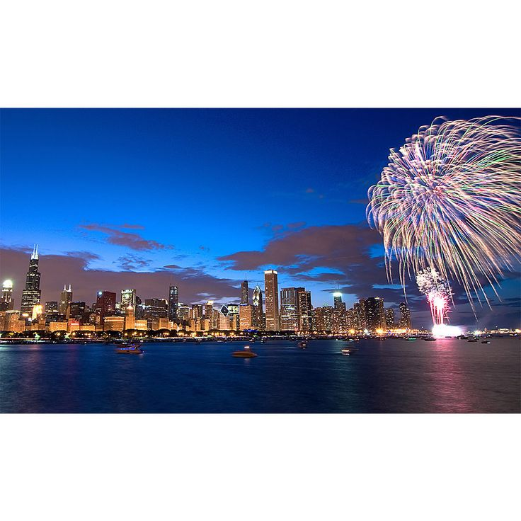 Awesome Chicago Skyline Firework Wall Graphic