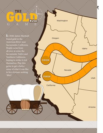 Worksheets: The Gold Rush Game. Fun for all. Race to get to California first.
