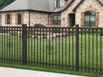 ultra style uaf200 residential aluminum fence with smooth rail across top and rings below