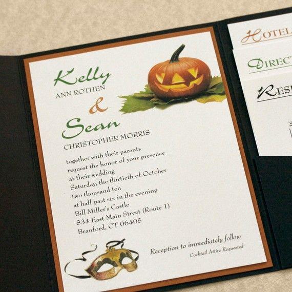 Pumpkin Masquerade Wedding Invitation Halloween Wedding