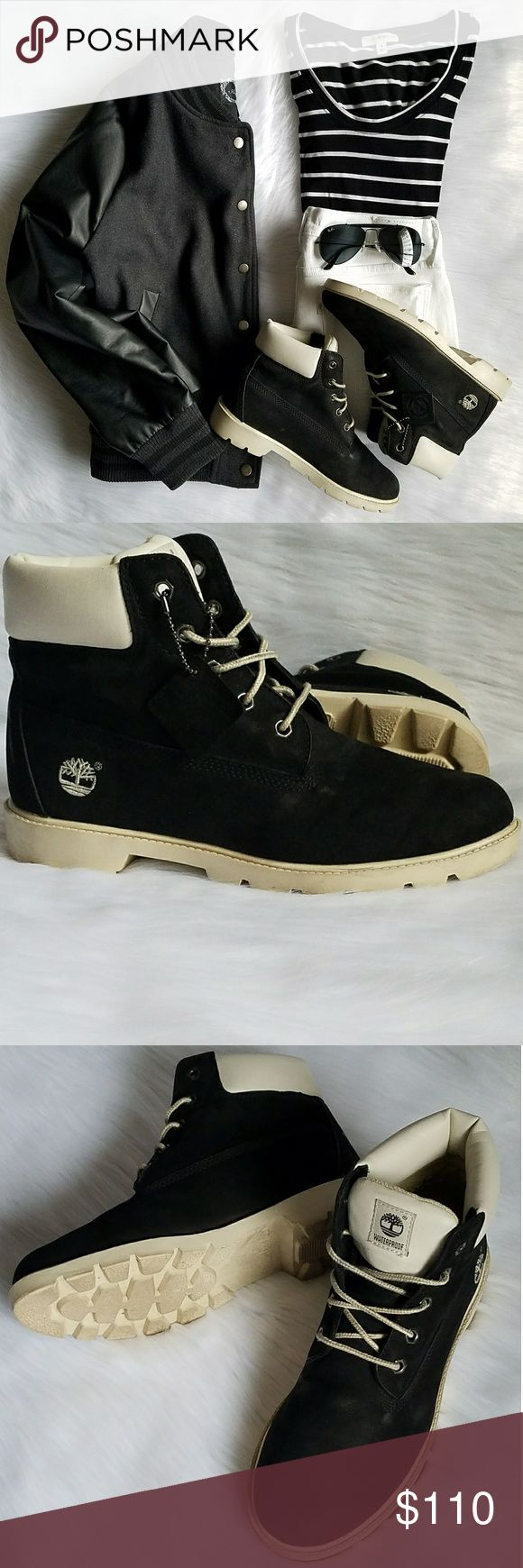 Junior 6-Inch Premium Waterproof Boots Rare and almost impossible to find pair of unisex Timberland boots in Cream/ Black/ Noir color. Gently worn a couple of times, still in clean/ very good condition, with both original box + shopping bag included. Minor black jean stains on both tongue and lace, (see pic #7 & #8). Bottom soles are hardly marked. 100% waterproof. Size is Juniors 6 which is equivalent to a Women's size 7.5. For a casual way to wear Timberland boots, team a varsity jacket…