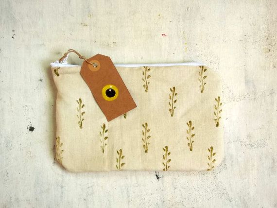 hand stamped pencils pouch handmade in cotton  with paper by vumap