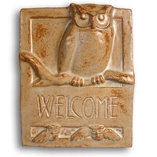 Craftsman style ceramic #owl welcome plaque
