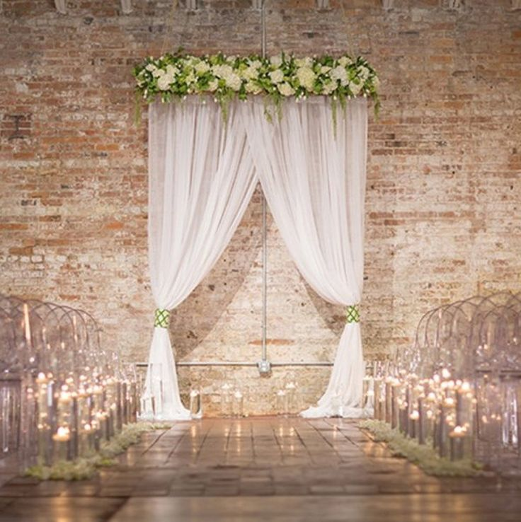 25 best wedding ceremony backdrop ideas on pinterest for Background curtain decoration