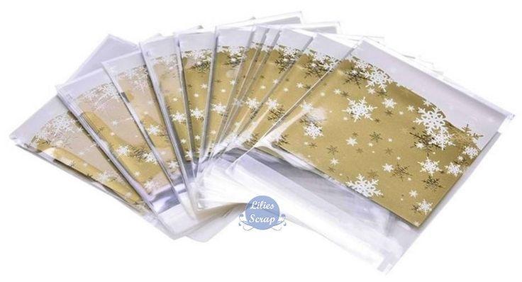 15 / 25 sachets 10 x 10 cm dorés flocons de neige Noël pochette cadeau cellophane avec bande auto-adhésive de la boutique LiliesScrap sur Etsy