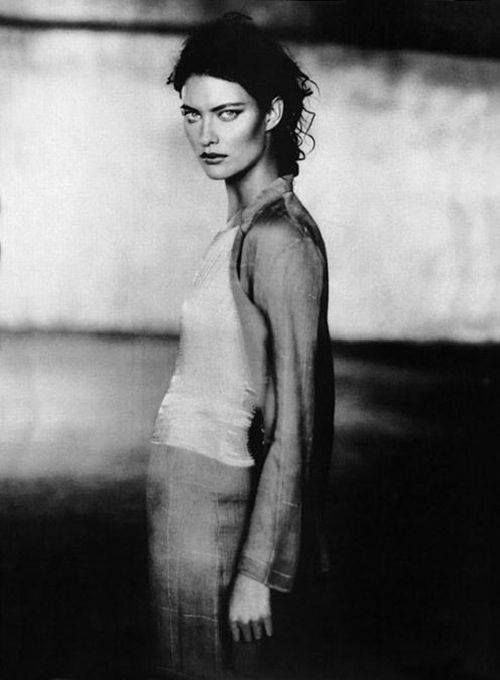 Shalom Harlow photographed by Paolo Roversi for the Armani Spring 1998 advertising campaign.