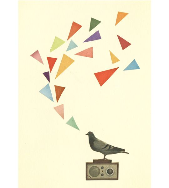 #Pigeon #Radio. A4 Print de Cassia Beck Collage sur DaWanda.com
