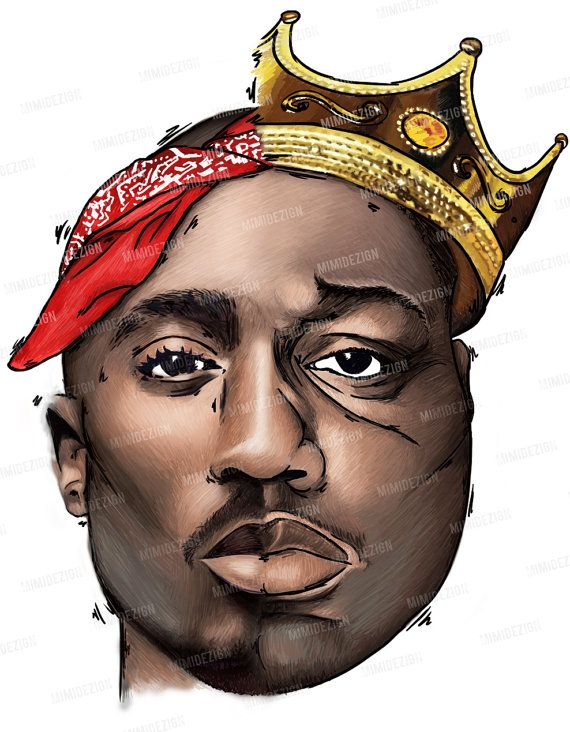 Tupac Shakur & Notorious B.I.G. Drawing -MUSIC Legends- Half Tupac / Half Biggie - WHITE on Etsy, $40.00. Email melanie99a@yahoo.com for orders!